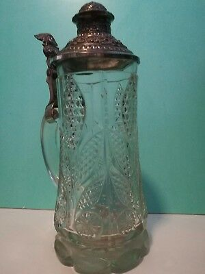 Very RARE CRYSTAL CUT Glass German Beer Stein SILVER PLATED LID 1890 -1900s