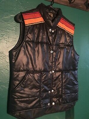 Simpson Black Vintage Puffy Motorcycle Vest Fight Club SUPER RARE (Small)