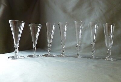 7 Antique Victorian Champagne Glasses Flutes, All Crystal, Mixed Lot