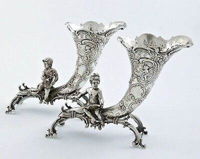 Pair of 800 German Silver CORNUCOPIA Vases with Figural PUTTI