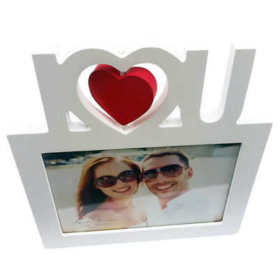 New Wooden Picture Frame For 5x7 Photo Red White Heart Wedding Love