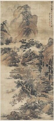 Chinese antique painting on silk Sansui landscape by Qiu Ying in Ming dynasty