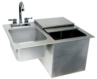 Glastender Commercial Drop-In Ice Bin with Sink & Faucet
