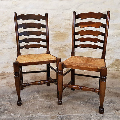 C18th Country Style Pair of Oak Ladderback Rush Seat Kitchen Dining Chairs
