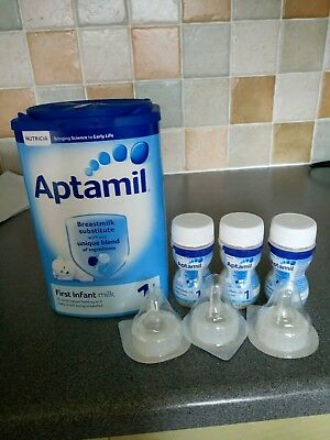 Aptamil 1 milk powder and 3 bottles ready to feed with teats