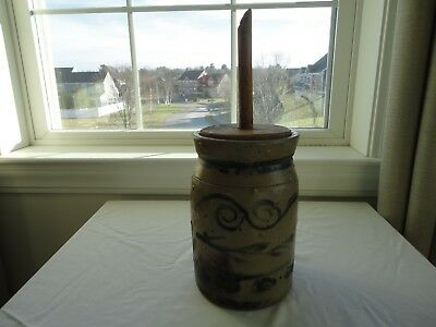 Rare Antique Pennsylvania? Maryland? Heavily Decorated Stoneware Butter Churn
