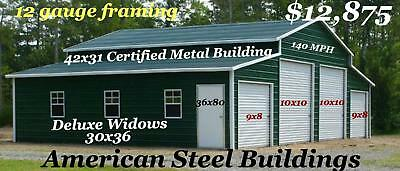 42X31X11 Deluxe all vertical metal building free delivery and set up 12 Gauge