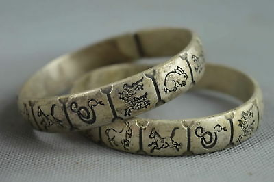 Collectable Handwork Decor Old Miao Silver Carve Ancient Chinese Zodiac Bracelet
