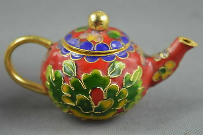 Collectable Handwork Decor Royal Cloisonne Carve Flower Auspicious Noble Tea Pot