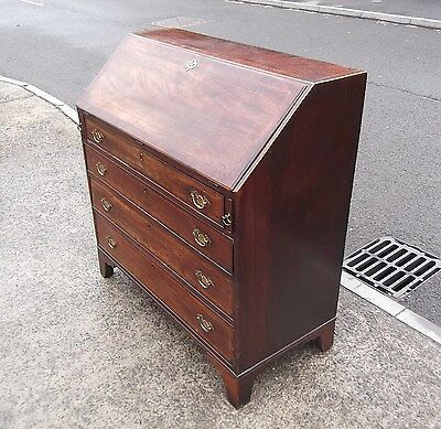Large Georgian Solid Mahogany Inlaid Bureau / Desk      Delivery Available