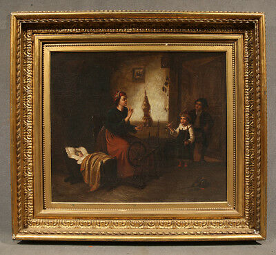 Early 19th Century Oil Painting Unsigned Work Interior with Mother and Children