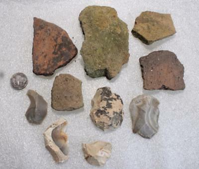 beautiful collection with  tools and big shards  european Neolithic ca. 5 000 BC