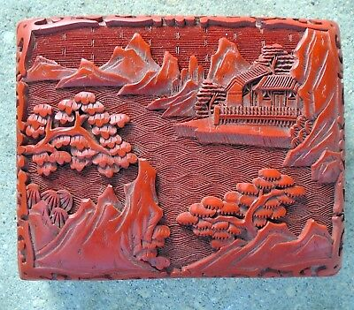 """Vintage CHINESE CARVED RED CINNABAR BOX Hinged Lid 4 1/8"""" x 3 1/4"""" x 1 1/2"""""""