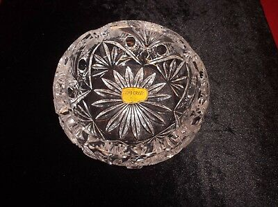 Genuine Lead Crystal Hand Cut Bowl 24%+ PbO Western Germany Old Vintage Glass