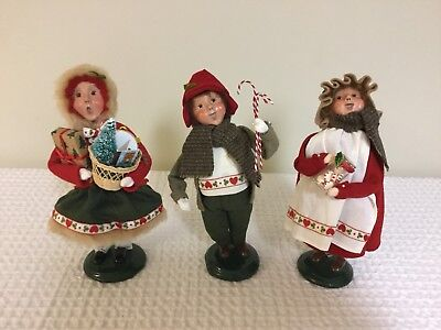 Lot Of 3 Assorted BYERS CHOICE Christmas Carolers Figurines 2004-2005, 10""