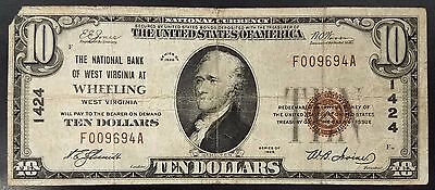 1929 $10.00 Nat'l Currency, The National Bank of West Virginia at Wheeling, WV!