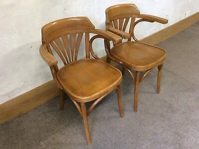 Pair Of Vintage Thonet Style Bentwood Arm Chairs / Elbow Chairs/ Tub Chairs