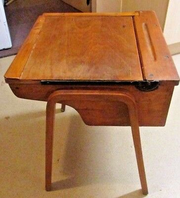Old school desk with metal  hinged lid - a great example-solid wood and ply