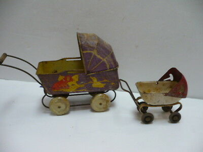 (2) Antique Toy Baby Carriages