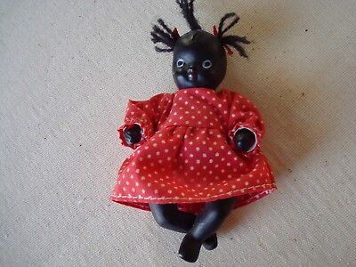 Vintage Baby Doll Black Americana Hand Sculpted Primitive Matt Black Color