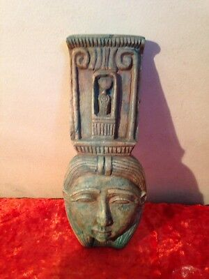 Antique Ancient Egyptian Statue of goddess Hathor wearing crown