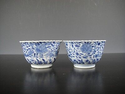 Two Chinese Porcelain B/W Cups With Flowers.18th C.Marked!