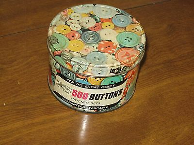 Vintage Can Of 500 Buttons