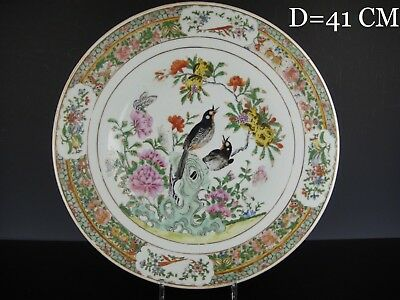 Large Fine Chinese Porcelain Charger With Birds.19th C.41 CM!