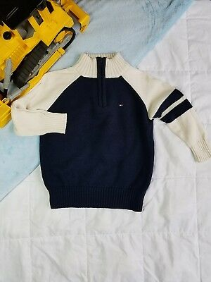 Tommy Hilfiger Toddler Boy's Sweater Half Zip 2T Navy Blue and White