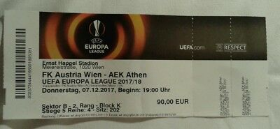 Ticket For Collectors: Austria Wien - Aek Athens Europa League 07/12/17