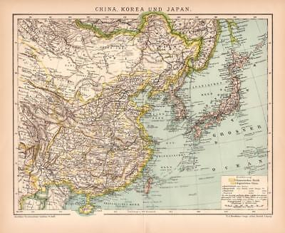 CHINA KOREA JAPAN MONGOLIA HAINAN TAIWAN FORMOSA Lithograph 1892 historical map