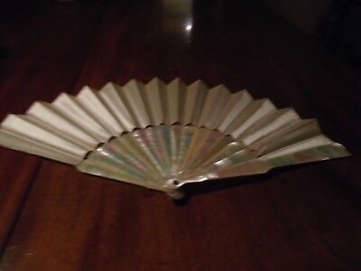 Antique  mother of pearl fan with silk leaf