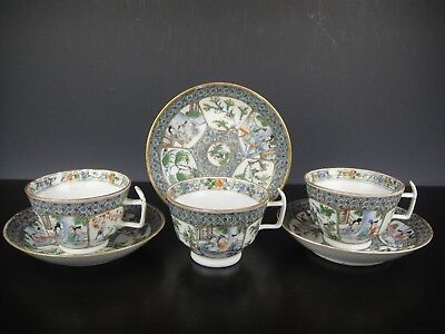 Fine Set Of Three Chinese Porcelain Cups&Saucers With Figures.19th C.