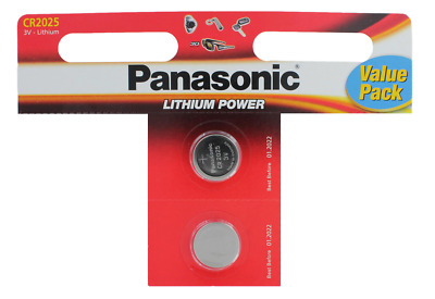 2 x Panasonic CR2025 Lithium Coin Cell 3V Battery Car Key Fobs Toys Remote New