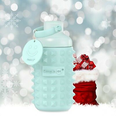 Holiday Season Leakproof Glass Wide Mouth Water Bottle with Silicone Sleeve 16oz