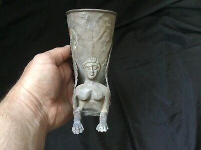 Very Rare Ancient Silver Viking Rhyton  Drinking Vessel c 2nd / 3rd  Cent BC