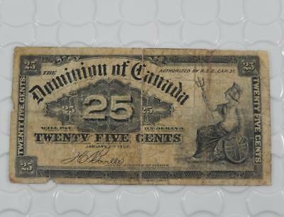 Dominion of Canada 1900 25 Twenty Five Cents Fractional Currency Note P0093