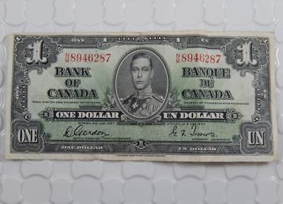 Bank of Canada Series 1937 $1 One Dollar Note Gordon Towers P0077