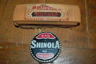 Vintage SHINOLA black shoe polish tin & brush advertising display collectibles