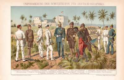 Military Uniform German Colony East Africa Lithograph 1894 old historical print