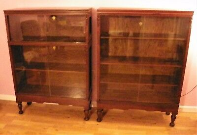 2 Early 1900's Macey Oak Bookcases Tuscan Library Cases Sliding Glass Doors