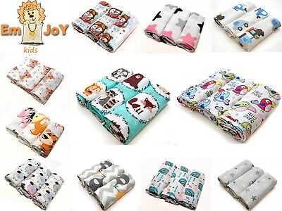 3 Pack Large Printed Muslin Squares 100% Cotton Baby Cloth Reusable Bibs Wipes
