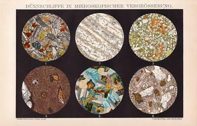 ROCKS STONES UNDER MICROSCOPE Lithograph 1892 old historical antique print