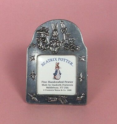 Beatrix Potter Small Pewter Picture Frame -Danforth Pewterers 1996- Bunny Rabbit