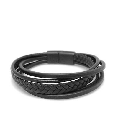 Black Layered Genuine Leather Bracelet Stainless Steel Locking Clasp Mens Womens