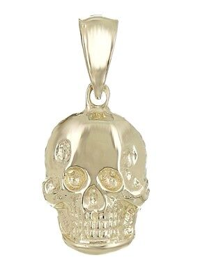 New Solid 14K Yellow Gold Small Skull Charm Pendant 1.4 grams