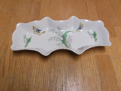 Vintage Limoges Butterfly & Lily Of The Valley Dish, Scalloped Edge