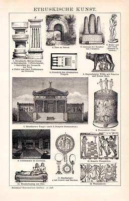 Etruscan Art Temple Tombstone Painting Engraving 1892 old historical print