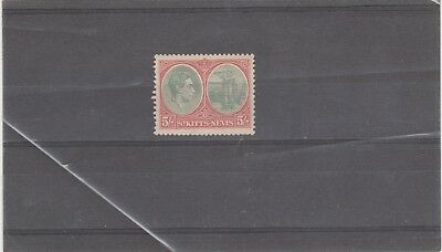 ST KITTS-NEVIS 1938 KGVI 1 X SG77 5s GREY GREEN AND SCARLET MINT STAMP