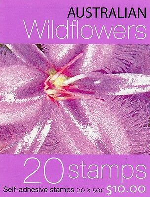 2005 STAMP BOOKLET AUSTRALIAN WILDFLOWERS 20 x 50c STAMPS MUH